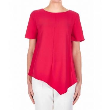 T-shirt mit Asymmetrischen Schnitt Pink