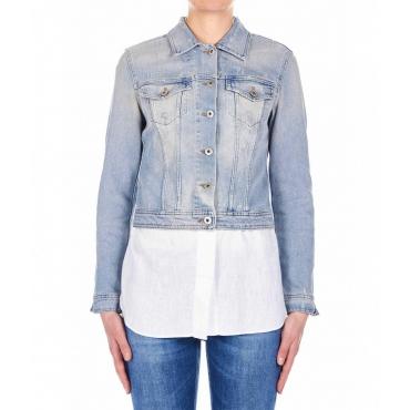 Giacca in jeans con tasche sul petto blu