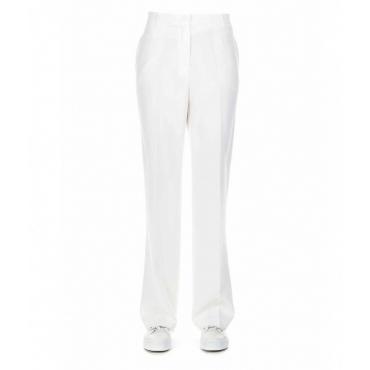Pantaloni con pieghe in vita bianco
