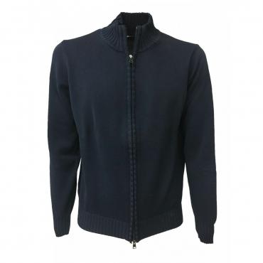 FERRANTE cardigan uomo con zip blu 100 cotone art 25002 MADE IN ITALY Blu Scuro