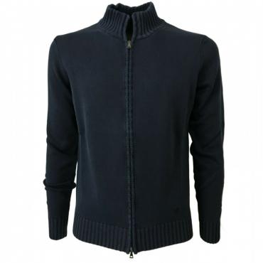 FERRANTE cardigan uomo con zip blu 100 cotone art 25002 MADE IN ITALY Blu Used
