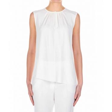 Top con dettagli rouches bianco
