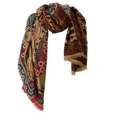 100x200 Sciarpa donna patchwork tessuto e seta 50 lana 50 seta Multicolor