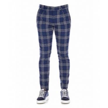 Pantalone con motivo a quadri blu scuro