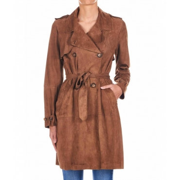 Trench in vera pelle Wild Dove marrone