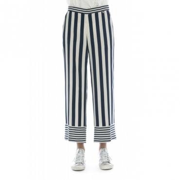 Pantalone donna - Maurice pantalone rigato BLU