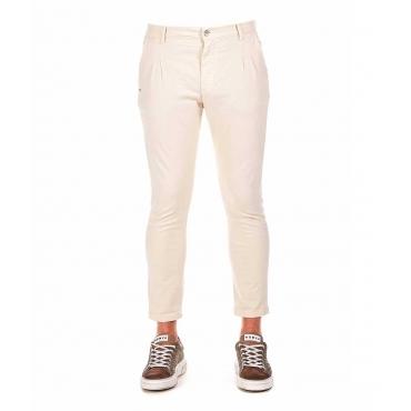 Pantaloni in misto lino beige