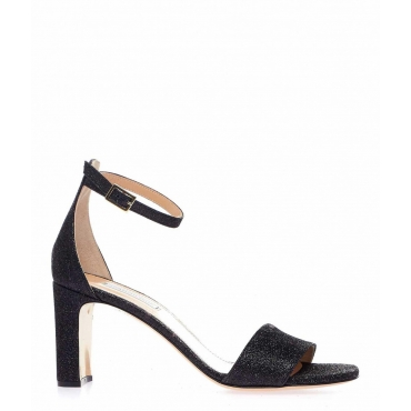 High heels con finish glitterato nero