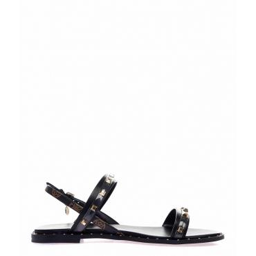 Sandali con dettagli borchie nero