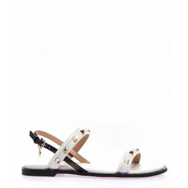 Sandali con dettagli borchie bianco