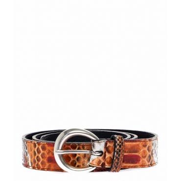 Cintura in pelle rettile arancione