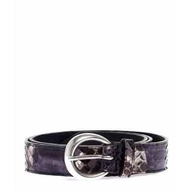 Cintura in pelle rettile grigio