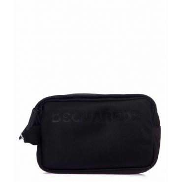 Beauty case con scritta logo nero