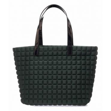Shopper Medium Lami Cube con manici in laminato verde