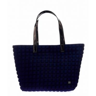 Shopper Medium Lami Cube con manici in laminato blu