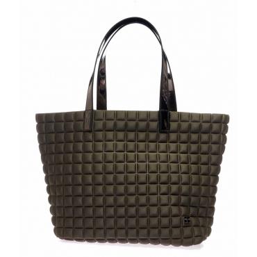 Shopper Medium Lami Cube con manici in laminato marrone