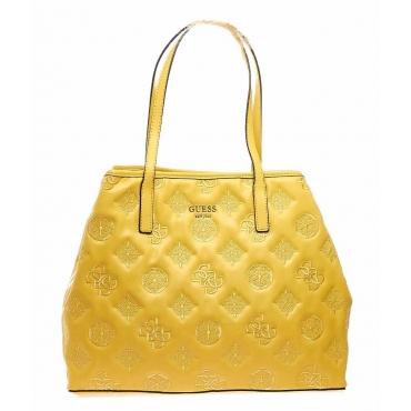 Shopper con ricamo logo giallo