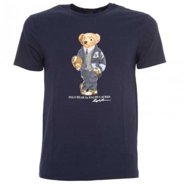 T-Shirt blu navy in cotone con orsetto CRUISENAVY
