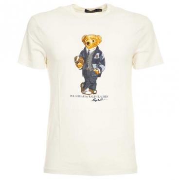T-Shirt in cotone bianca con orsetto DECKWASHWHIT
