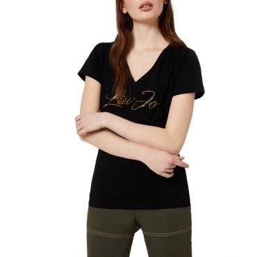 T-shirt con logo gioiello 22222NERO