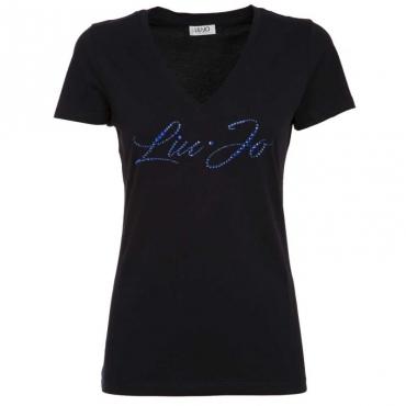 T-shirt con logo gioiello 93921BLUNAVY