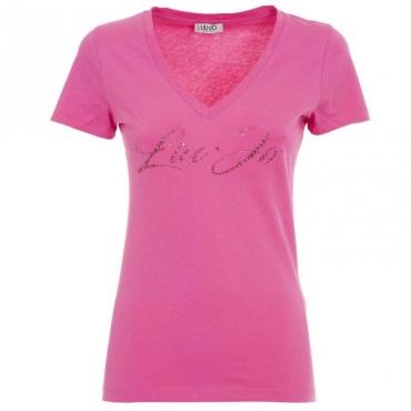 T-shirt con logo gioiello X0233PINKBUB