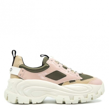 Sneakers Wave 01 in vernice S1306OLIVE/P