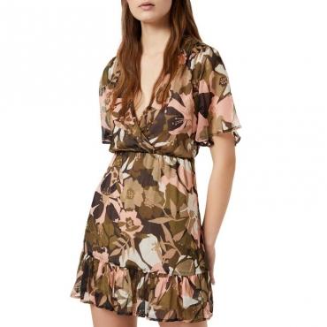 Vestito corto a V in seta a fiori U9573FLORALC