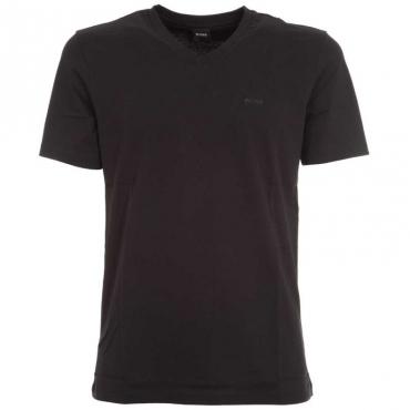 T-Shirt classica in cotone con scollo a V 001BLACK