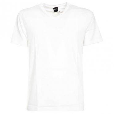 T-Shirt classica in cotone con scollo a V 100WHITE
