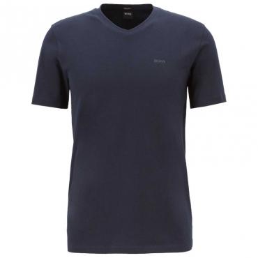 T-Shirt classica in cotone con scollo a V 402DARKBLUE