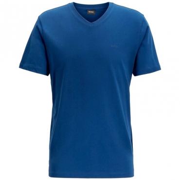 T-Shirt classica in cotone con scollo a V 426MEDIUMBLU