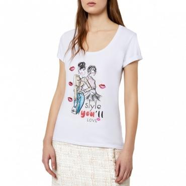 T-Shirt bianca in cotone con stampa 11111BIANCOO