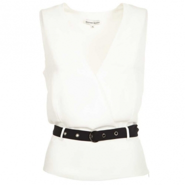 Top bianco con cinturino nero MILK