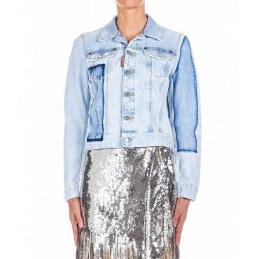 Giacca in jeans con tasche sul petto azzurro