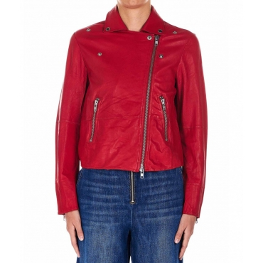 Giacca biker rosso
