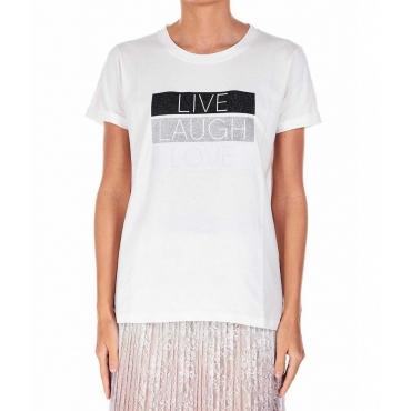 T-Shirt con scritta in glitter bianco