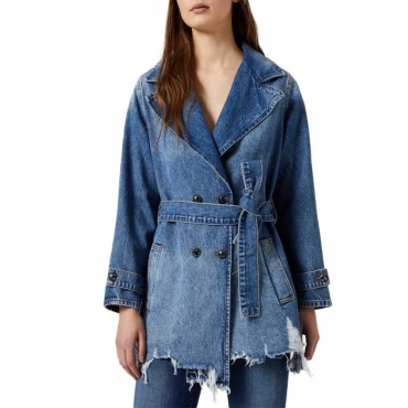 Trench corto in jeans 78041DENBLUE