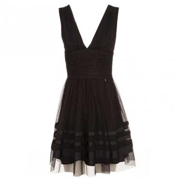 Vestito corto in plumetis nero 22222NERO