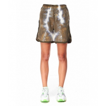 Shorts con finitura in glitter khaki