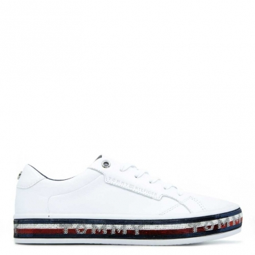 Sneakers Foxing Dress con paillettes BIANCO
