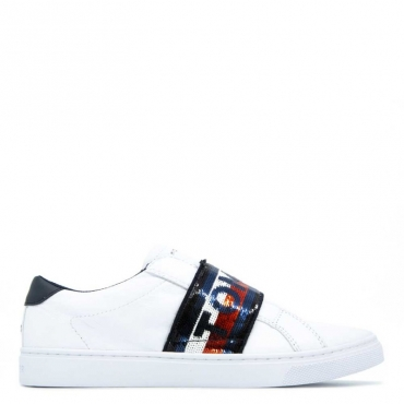 Sneakers slip on con banda glitterata BIANCO