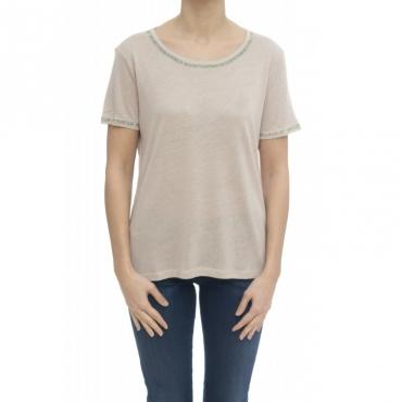 T-shirt donna - Paciana t-shirt lino 20290 - Cipria