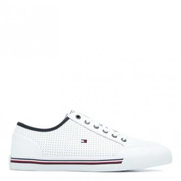 Sneakers bianche in cuoio traforato BIANCO
