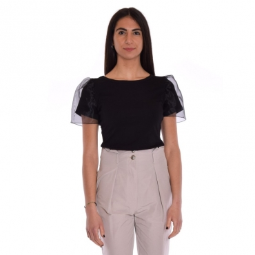 T-shirt manica organza NERO