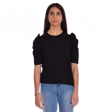 T-shirt jersey manica camicia NERO