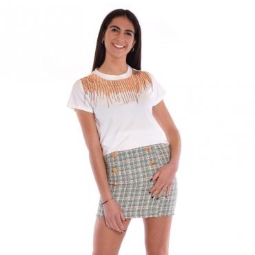 T-shirt paillettes BIANCO