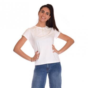T-shirt inserto perle BIANCO