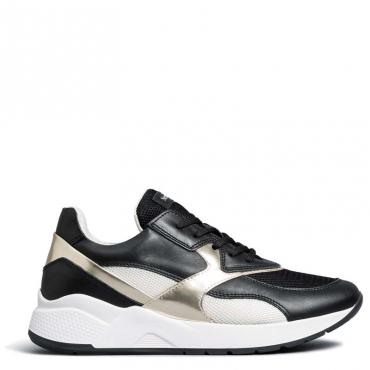 Sneakers in pelle laminata e tessuto 100