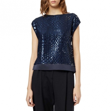 Top in paillettes con spacchi laterali BLU NAVY